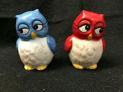 Adorable Red and Blue Owl Couple Salt & Pepper Shakers Signed Laurie Furnell