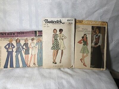 Fab Lot of 3 Vintage Boho Hippie CUT Sewing Patterns Suit Dress All Ladies 8