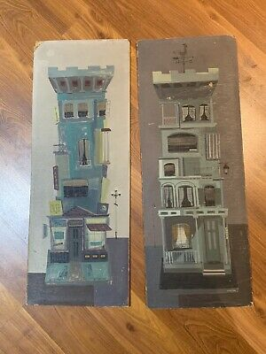 Pair Of Vintage Mid Century New York City Builidngs Margaret Layton Listed