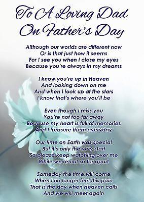 A Loving Dad Father's Day Memorial Graveside Poem Card & Free Ground Stake F338