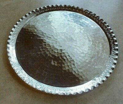 Vintage, Hammered Silver Plated Boliviano Round Tray