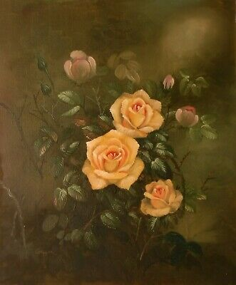 GROPPER 24x20 OIL PAINTING on flat canvas – Peach rose bush – detailed floral