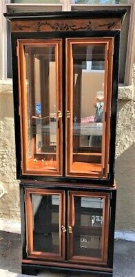 Carved and Laquer Wood Lighted Curio