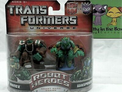 Transformers Robot Heroes Universe G1 Series Rhinox and Waspinator NEW MISP