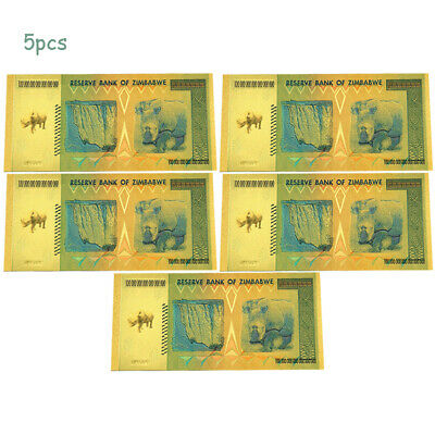 5 Gold Foil Zimbabwe 100 Quintillion Dollars Banknote Money Collect Gift