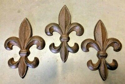 SET of FLEUR DE LIS WALL ART DECOR french rustic antique bronze brown cast iron