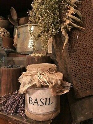 Primitive Pantry Jar BASIL Grubby Country Cupboard Tuck Early Look Homestead