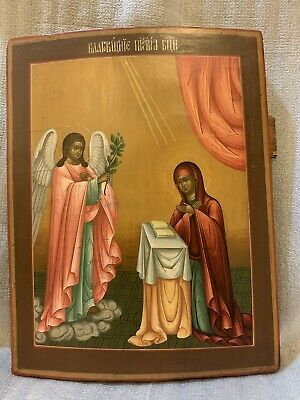 Antique Russian Icon, ANNUNCIATION 19-20Century.