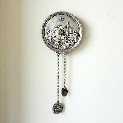 Yealat Chen Silver Plated Old City of Jerusalem Clock with Pendulums. Made in Is