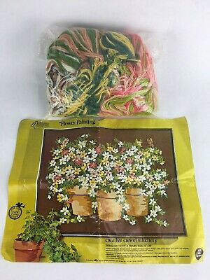 """Paragon Creative Crewel Stitchery """"Flower Painting"""" Picture Kit No. 02783X Open"""