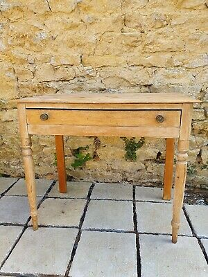 ANTIQUE or VINTAGE SOLID PINE CONSOLE HALL TABLE WITH DRAWER