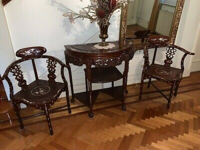 Half Moon Carved Chinese Rosewood table plus two chairs w/Mother of Pearl Inlay