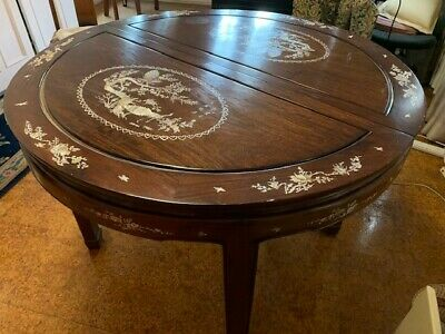 Chinese carved round expandable rosewood table w/mother of pearl inlay & 6 chair