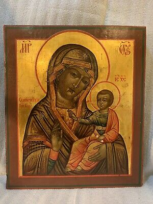 Antique Russian Icon, Semyozersky Pres Virgin Late 19th Century,