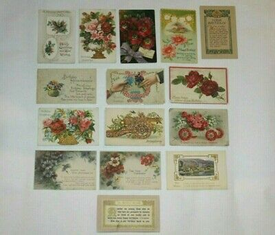 (15) VINTAGE ANTIQUE BIRTHDAY GREETINGS POSTCARDS EARLY 1900's BEAUTIFUL LITHO!!