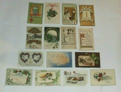 (15) VINTAGE ANTIQUE NEW YEAR GREETINGS POSTCARDS EARLY 1900's EMBOSSED!!
