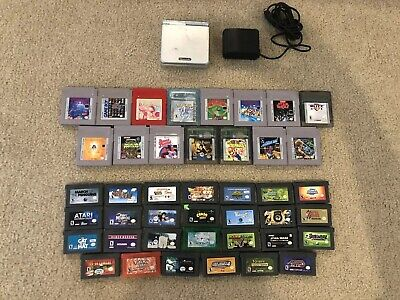 Nintendo Gameboy Advance Console and 42 Game Bundle Lot Pokémon Crystal, Zelda