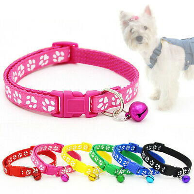 Paw  with Bell 1PC New Nylon  Collars Adjustable Dog Cat Puppy  Fashion Safety