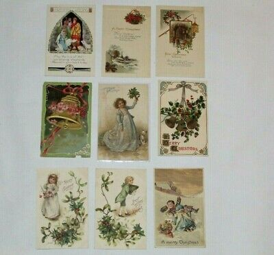 (9) VINTAGE ANTIQUE CHRISTMAS POSTCARDS EARLY 1900's EMBOSSED!!