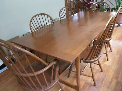 Set of 6 D. R. Dimes Bowback Windsor Chairs-Custom D R Dimes inspired table