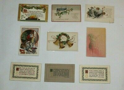 (9) VINTAGE ANTIQUE CHRISTMAS POSTCARDS EARLY 1900's BEAUTIFUL LITHO! EMBOSSED!!
