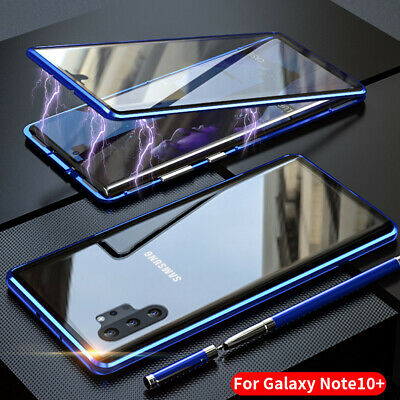 For Samsung Galaxy Note 10 Plus Magnetic Absorption Front+Back Glass Case Cover