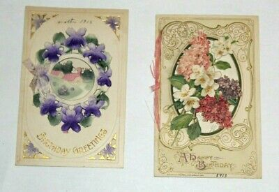 VINTAGE ANTIQUE EMBOSSED FOLD-OUT BIRTHDAY GREETINGS POSTCARDS EARLY 1900's
