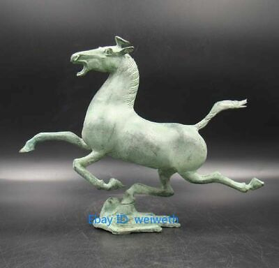 Exquisite Bronze Old Collectible Handmade Carving Horse Fly Swallow Statue
