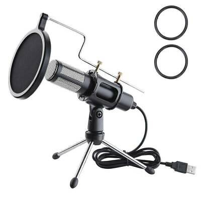 USB Audio Condenser Microphone Mic Vocal Studio Recorder with Tripod Stand Kit