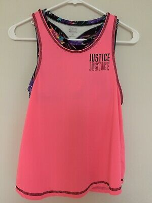 Justice Active Tank Top with built in bra pink athletic fitness girls size 14