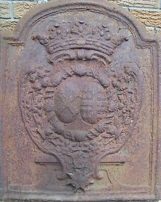 Antiques British fireplace cast iron coat of arms Fireback  warmer from 1750