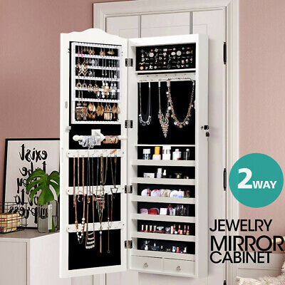 Mirror Jewellery Cabinet Makeup Storage Ear Ring Necklace Box with Drawers 2 Way