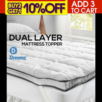 Dreamz Bedding Luxury Pillowtop Mattress Topper Mat Pad Protector Cover Double