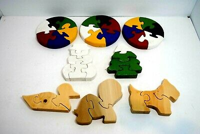 Puzzles Handmade Wooden Animals, Circles and Christmas unfinished and painted