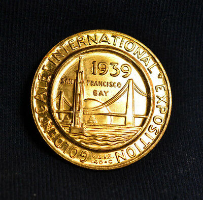 1939 Unlisted Golden Gate Expo SC-Dollar, 32mm Gilt Metal, BU Condition, NICE!