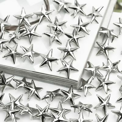 Silver Star Shape Spikes Studs Spot Rivets Bag Shoes Clothes Leather Craft