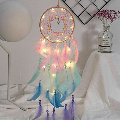 Feathers Dream Catcher Night Light Dreamcatcher Wind Chime Wall Hanging Decor