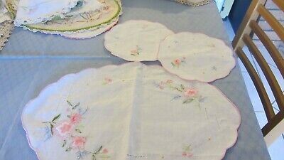 vintage  embroidered  duchess set doilies set of 3 PINK  FLOWERS never used
