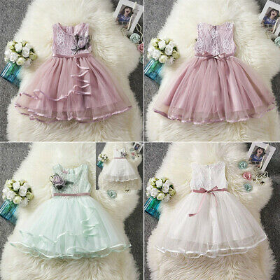 AU Newborn Toddler Kid Baby Girl Princess Flowers Party Tutu Tulle Dress Clothes