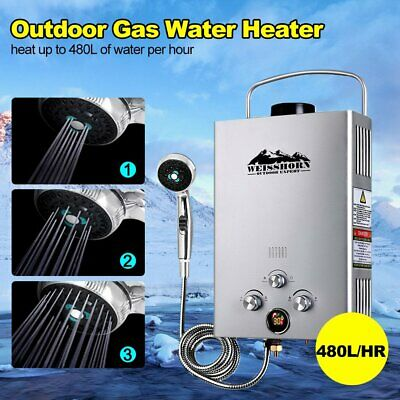 Weisshorn Lpg Gas Portable Hot Water Heater Camp Shower Caravan Horse Wash