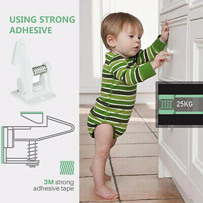 10PCS Invisible Child Baby Safety Locks Adhesive Cabinet Drawer Cupboard Latches