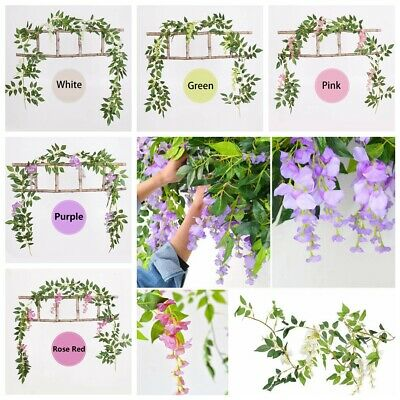 7FT Artificial Wisteria Vine Garland Plant Foliage Trailing Flower Hanging Craft