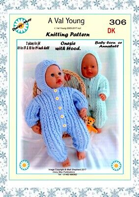 1 x DOLLS KNITTING PATTERN  306 for Annabell or Baby Born Type doll Val Young.