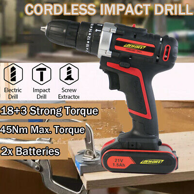 Fast Charge 21V Electric Combi Drill Impact Driver Kit Two Batteries Garage Tool