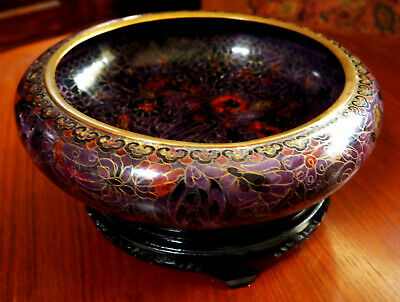 Oriental Cloisonné Bowl on Carved Wooden Stand