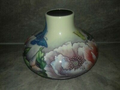 Old Tupton Ware Squat Vase Floral With Butterfly Design -Hand Painted