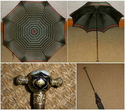 Vintage/Antique Gold Plate Meissen Porcelain Striped Canopy Umbrella