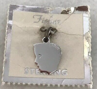 Vintage FISHER LeStage STERLING SILVER BOY HEAD SILHOUETTE CHARM PENDANT NOS