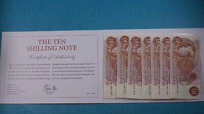 Bank Of England 7X Ten Shilling Notes Uncirculated Consecutive Numbers