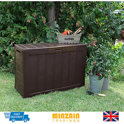 Outdoor Garden Storage Box Patio Chest Bench Seat Utility Shed Plastic Furniture